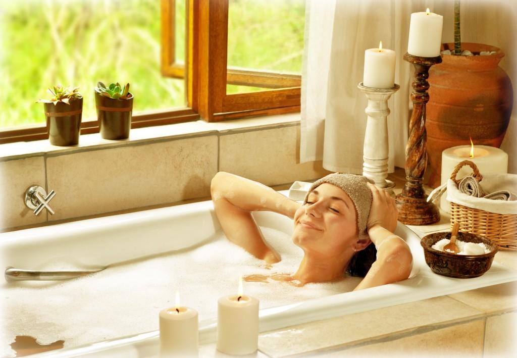 Girl relaxing in tub