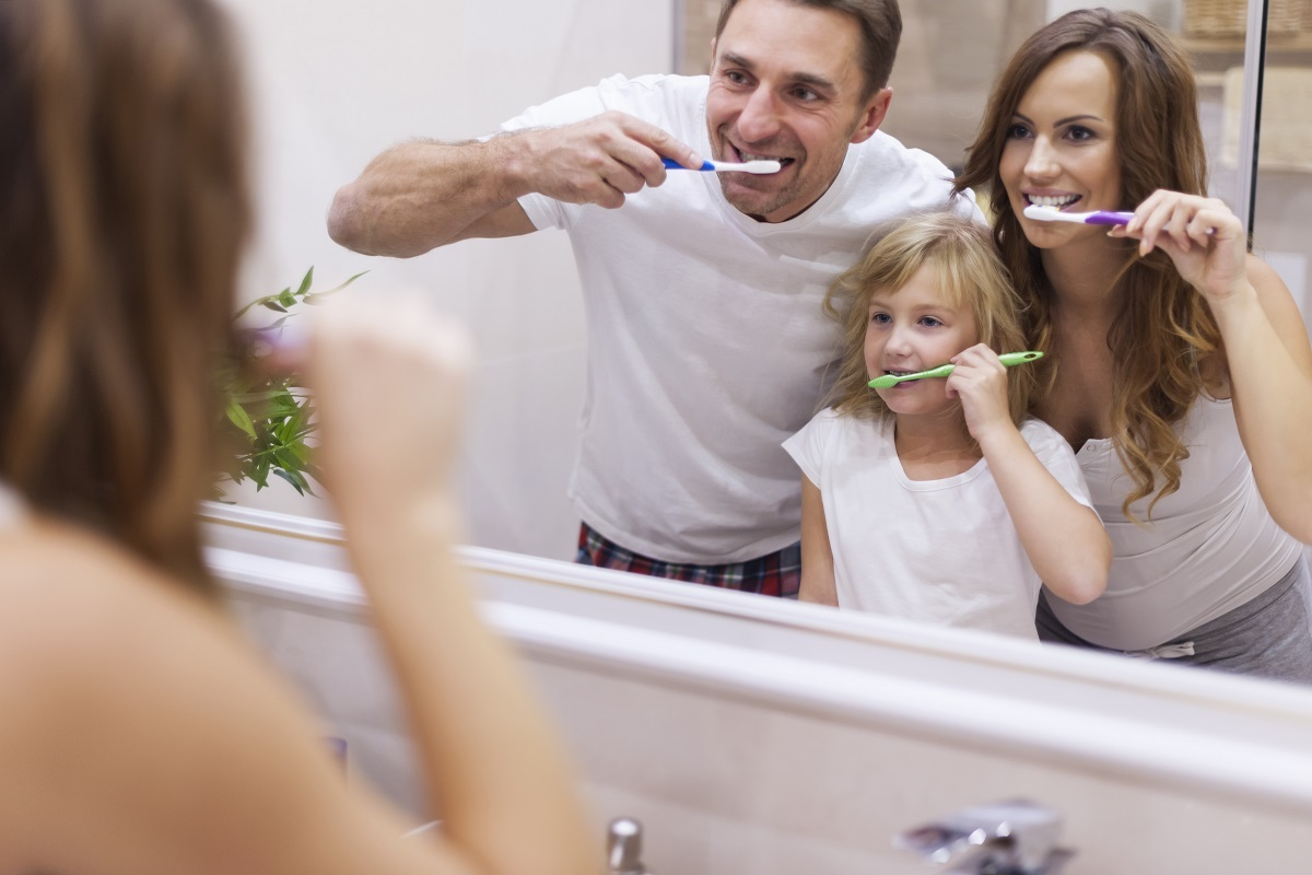 family brushing together