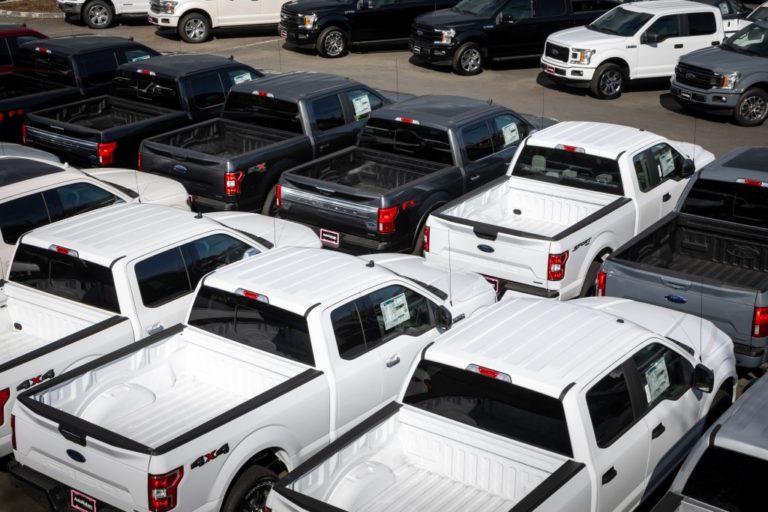 SUVs in parking lot