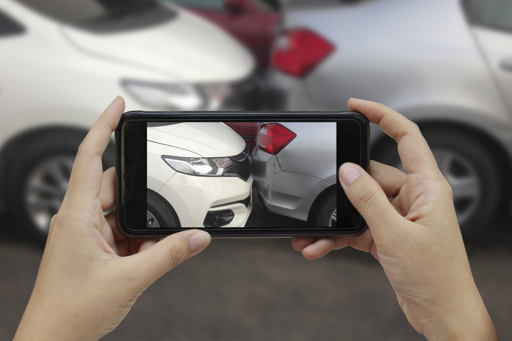 taking a photo of car accident