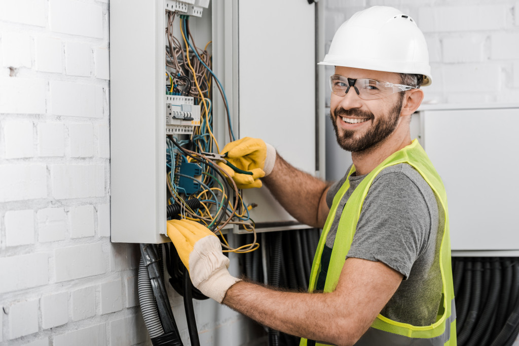 Electrician fixing wires