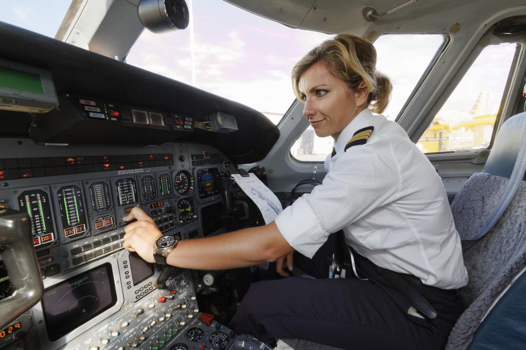 woman inside plane