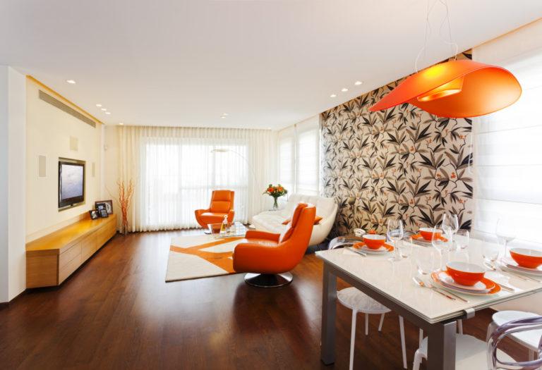 orange and white interior design