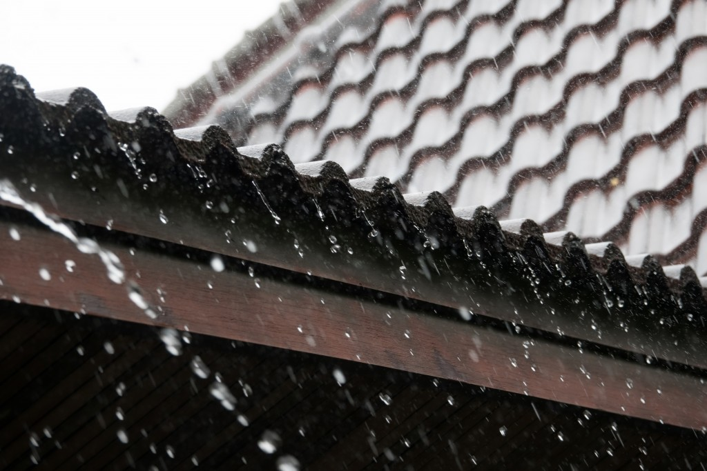 rainwater on the roof