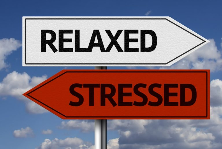 relaxed and stressed signage