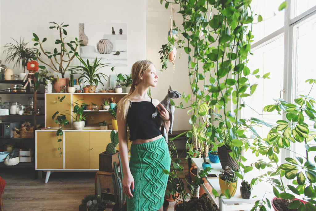 person and plants