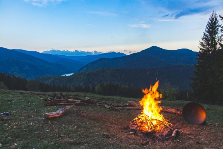 campfire with a view