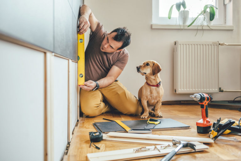 man doing home renovation with his pet dog
