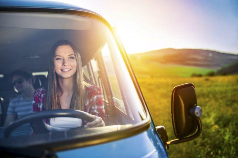 woman driving a van