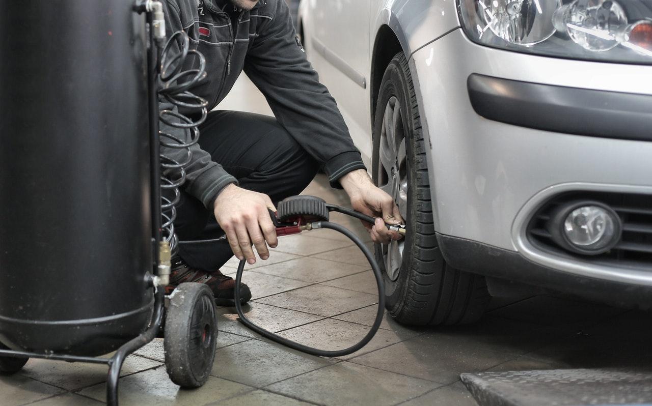 checking car tire