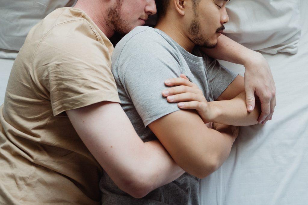 two men sleeping