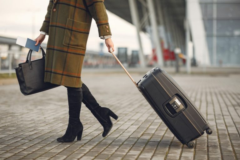 woman with her suitcase