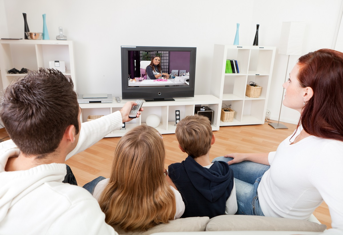 family watching a television