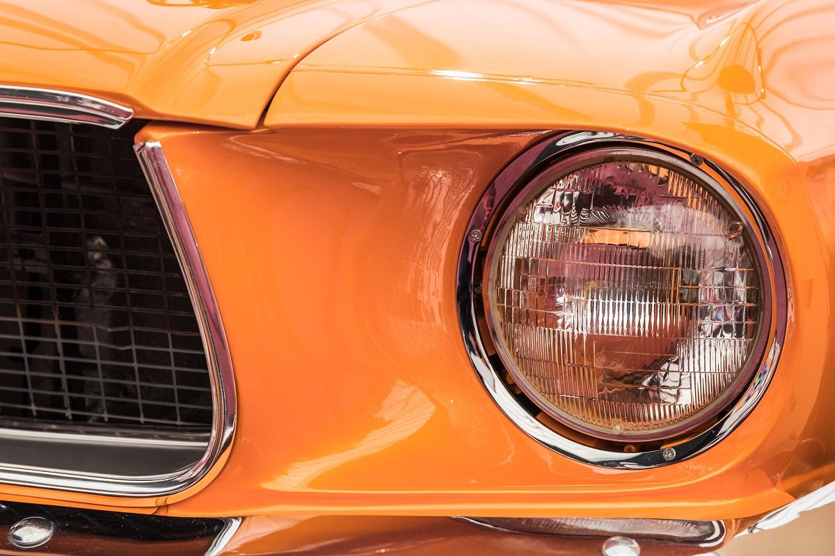 orange car zoomed in