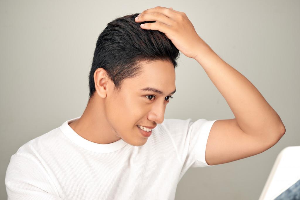 fixing hair