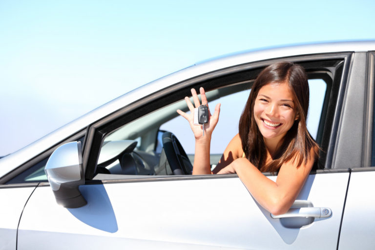 woman readying up to drive