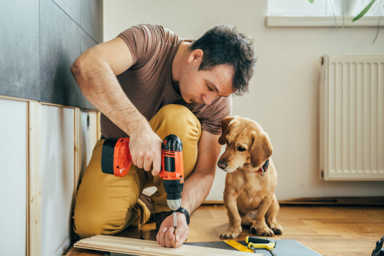 man doing a renovation project